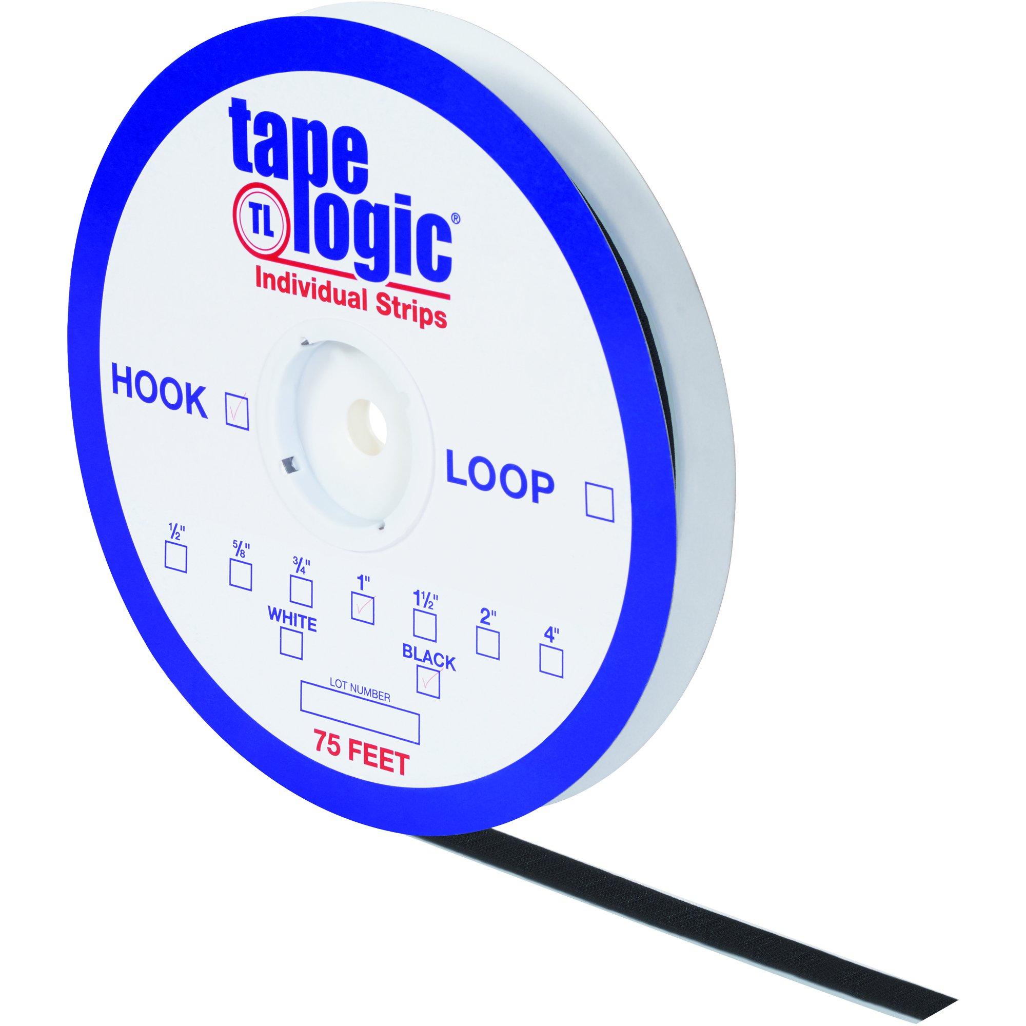 Tape Logic HLT114 Rubber Based Individual Tape Loop Strip, 75' Length x 1'' Width, Black