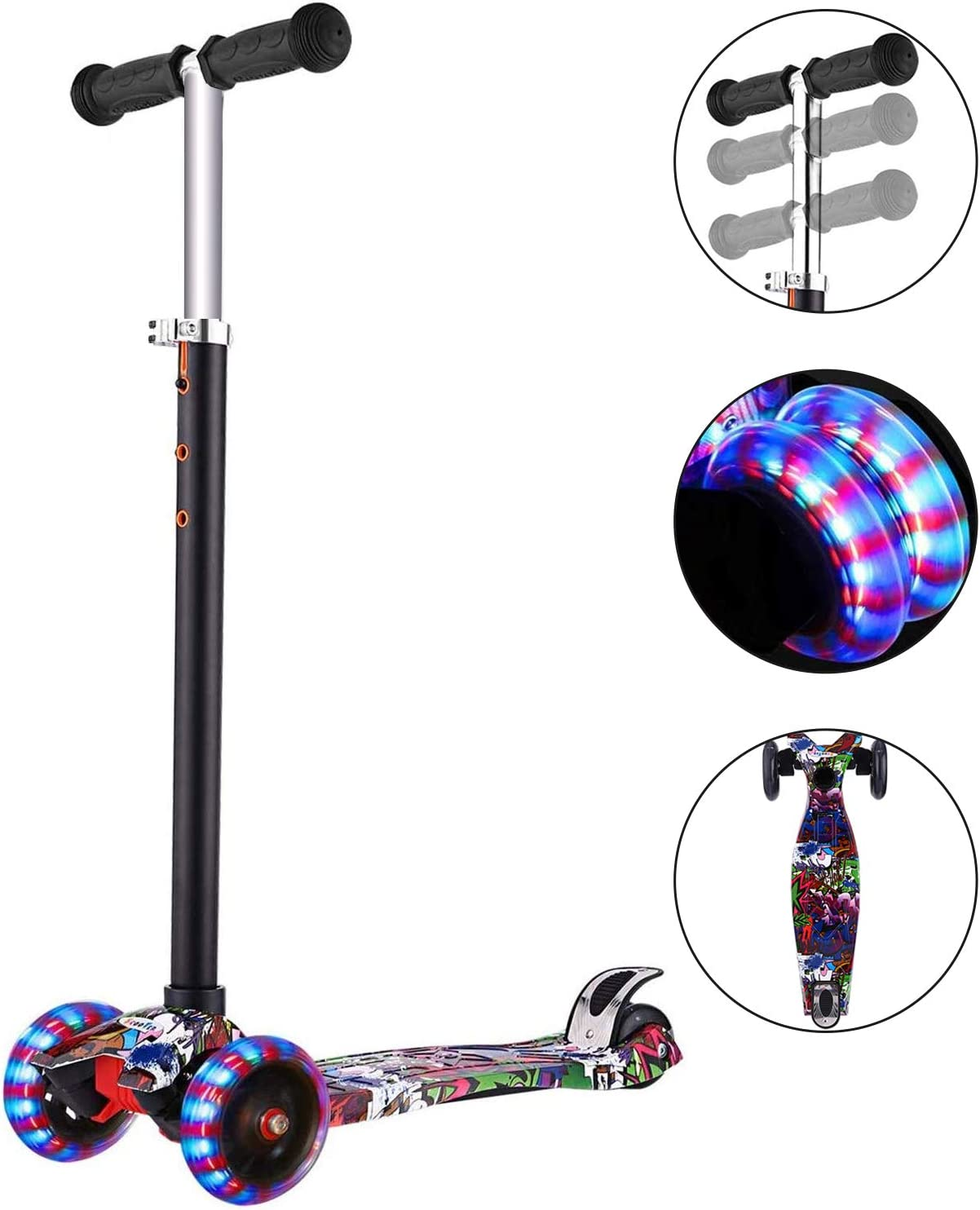 WeSkate Scooters for Kids 3 Wheel Kick Scooter with Adjustable Height Light Up Flashing Wheel for Boys Girls, 3-12 Quick Disassembly with One Button