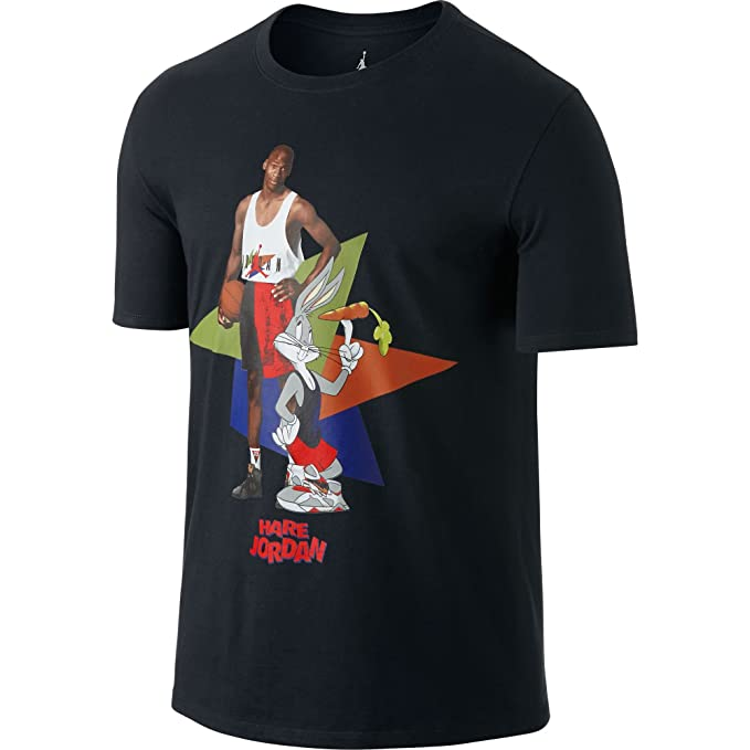 6e3fae309fbc Jordan Retro 7 WB Hare Poster Men s T-Shirt Black Challenge Red 658559-
