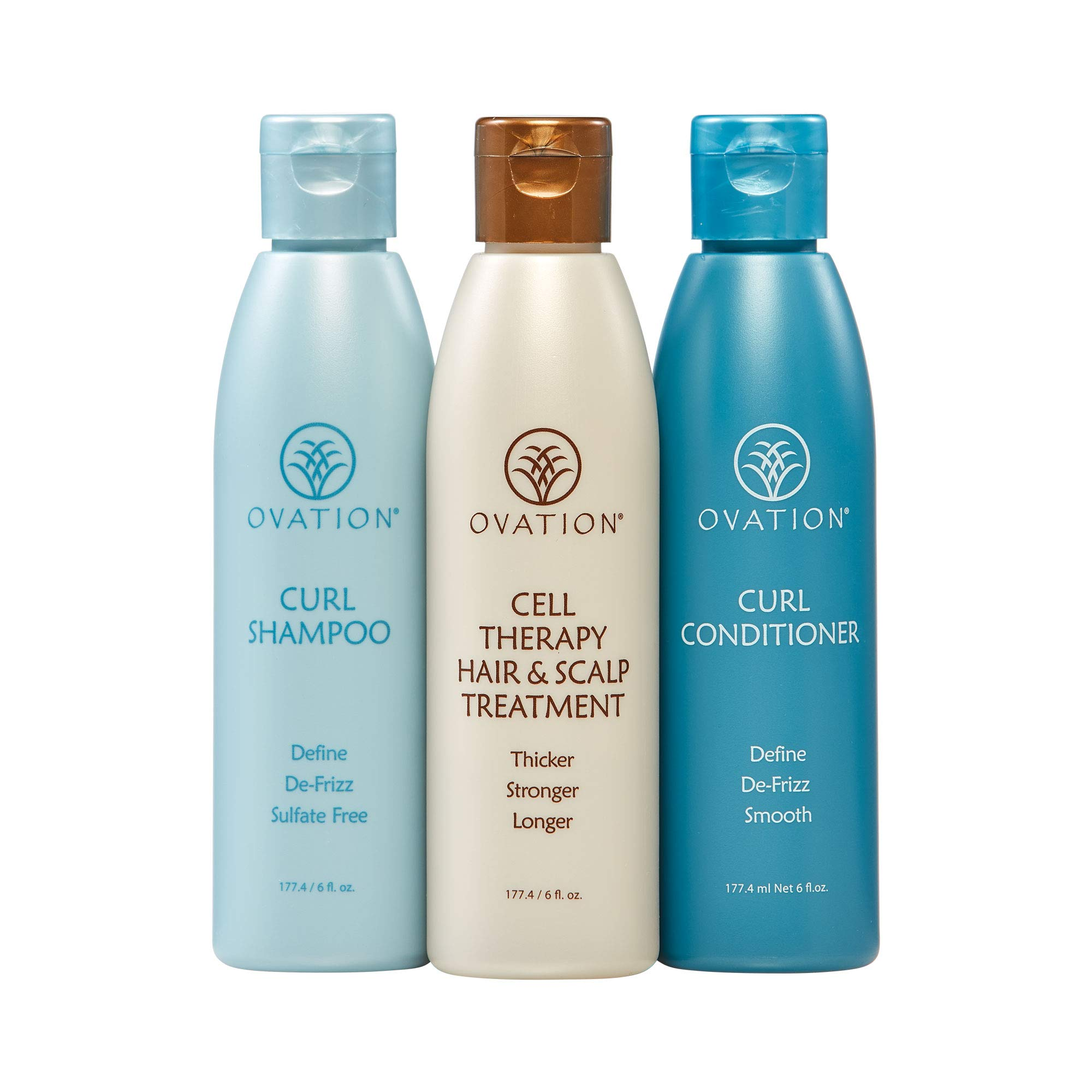 Ovation Curl Cell Therapy System - Salon Quality - Get Stronger, Fuller & Healthier Looking Hair with Natural Ingredients. Includes Curl Therapy Treatment Shampoo and Curl Conditioner by Ovation Hair