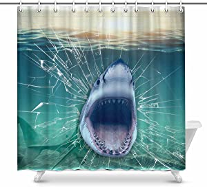 INTERESTPRINT Shark Coming Out of The Wall Home Bath Decor, Underwater Fish Polyester Fabric Shower Curtain Bathroom Sets 69 X 72 Inches
