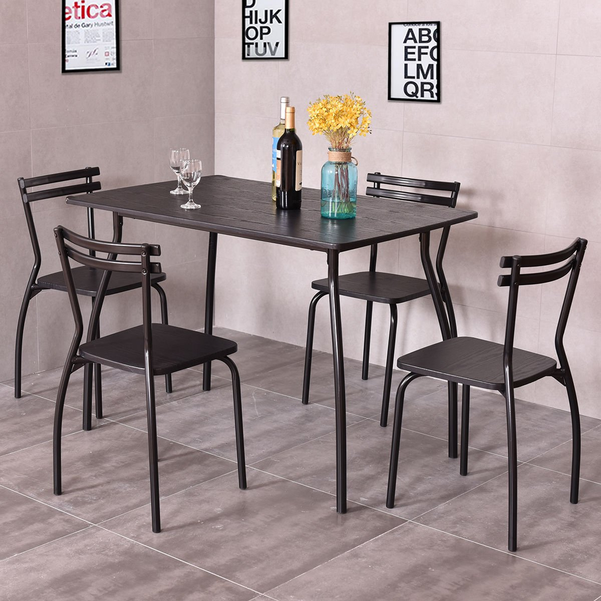 Sturdy 5 piece dining set includes table and 4 armless chairs with ergonomic back home kitchen room breakfast furniture durable and reliable