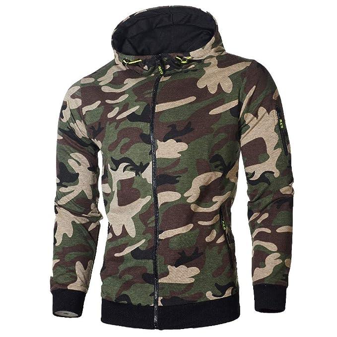 ZARLLE_Hombres Sudadera Sudaderas Hombre, Capucha Diseño Militar Camuflaje Sudadera con Capucha Camisas de Manga Larga Chaqueta Abrigos Outwear