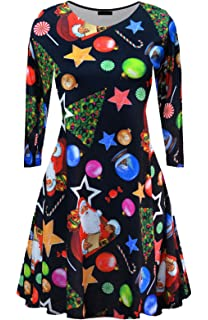 e768f5127ca70 Women Long Sleeves Santa Christmas Mother Daughter Xmas Gifts Print Flared Swing  Dress Top