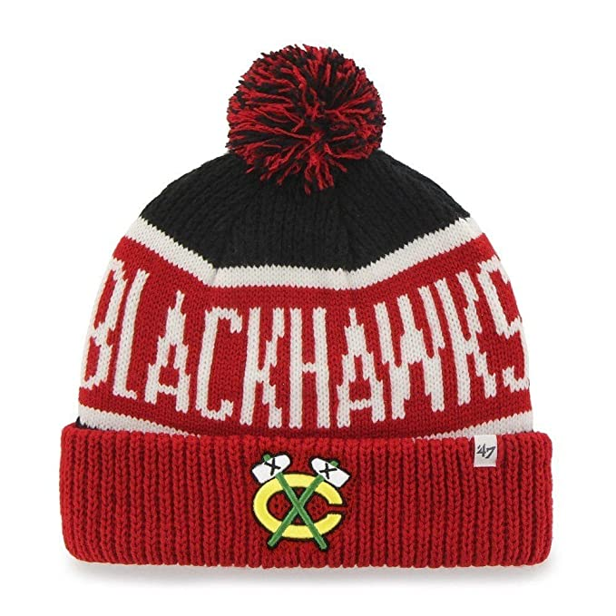 27e63fd71ad68 germany amazon nhl chicago blackhawks 47 brand calgary cuff knit hat with  pom black one size