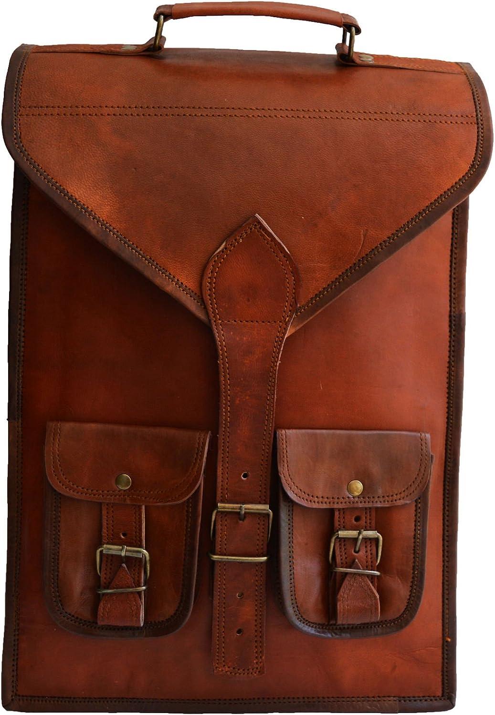 15 Men s Womens Unisex Genuine Leather Vintage Unique convertibale Laptop Backpack Messenger Bag and Briefcase for Laptop Upto 15.6