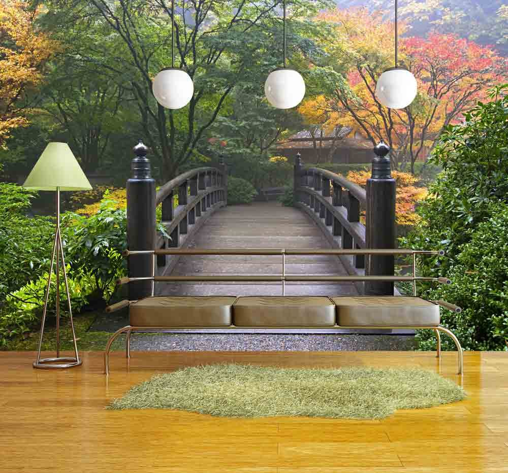 Wall26   Wooden Bridge At Portland Japanese Garden Oregon In Autumn    Removable Wall Mural | Self Adhesive Large Wallpaper   66x96 Inches Part 73