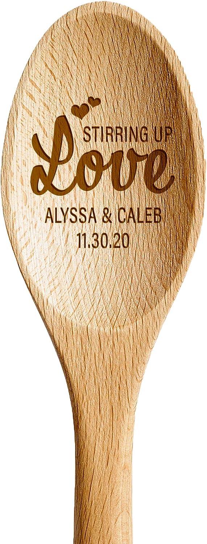 Hat Shark Novelty Message 3D Laser Engraved Wooden Spoon Birthday Christmas Easter Anniversary Wedding Gift For Him, For Her, For Boys, For Girls, For Them (Custom Wedding Stirring Up Love)