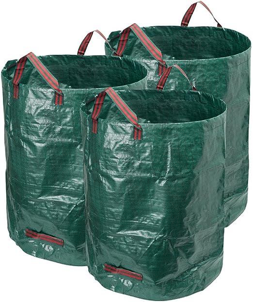 Hyindoor Bolsas de Basura de Jardín para Desechos Saco Resistente y Plegable de Polipropileno de Residuos Bolsa para Hojas de Jardinería, Verde, 3 x 120 L: Amazon.es: Jardín