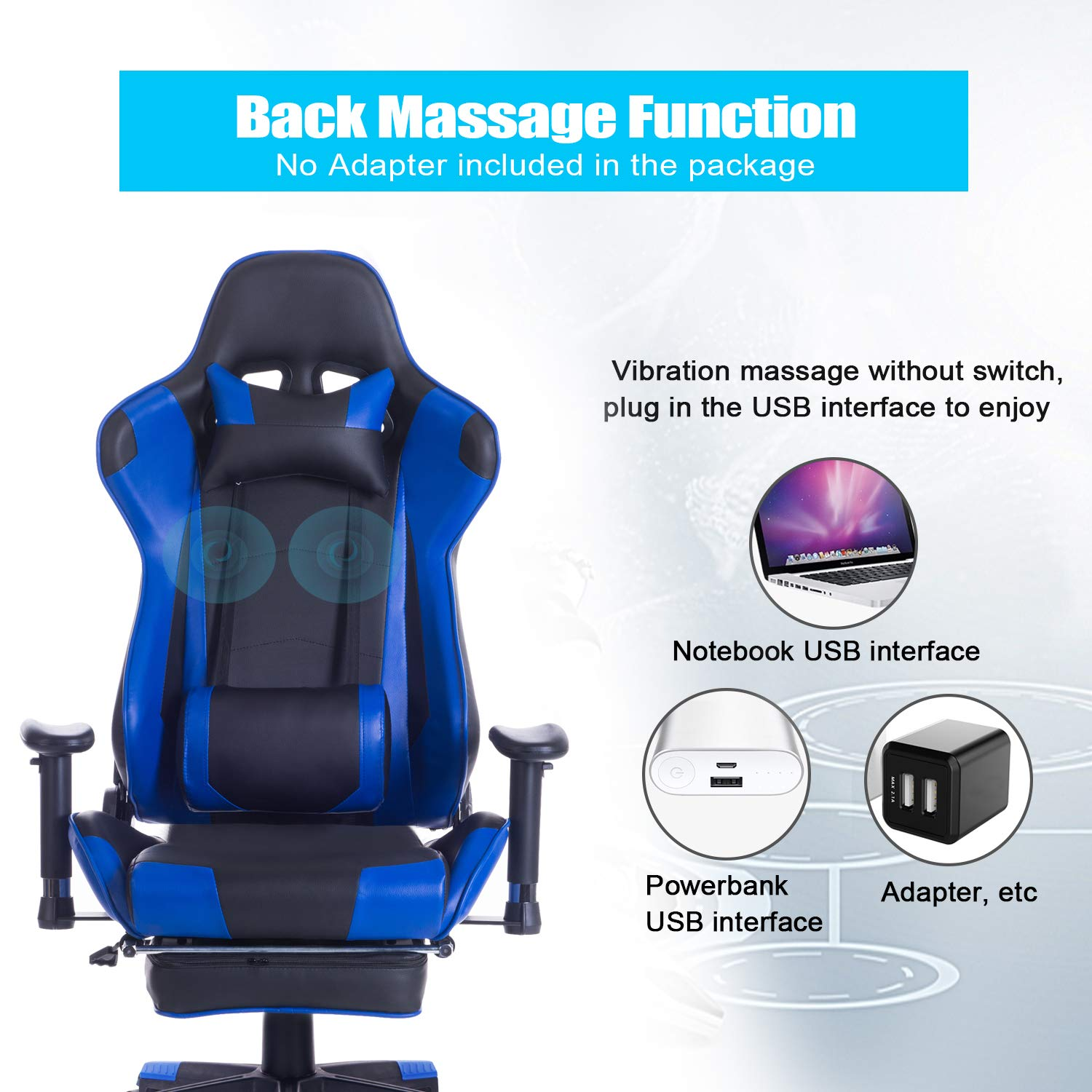 HEALGEN Back Massage Gaming Chair with Footrest,PC Computer Video Game Racing Gamer Chair High Back Reclining Executive Ergonomic Desk Office Chair with Headrest Lumbar Support Cushion GM002 Blue