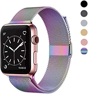 OSUVOX Compatible with Apple Watch Band 38mm 40mm 42mm 44mm, Stainless Steel Mesh Loop Adjustable Metal Magnetic Strap for Series 6/5/4/3/2/1/SE