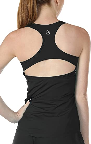 Athletic Tanks icyzone Open Back Workout Tank Tops for Women Exercise Gym Shirts Yoga Tops 2 Pack