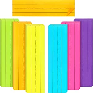 300 Sheets Sentence Strips Rainbow Ruled Word Strips Adhesive Learning Sentence Strips for School Office Rewards Supplies, 3 x 8 Inch, 6 Colors, 6 Packs Totally