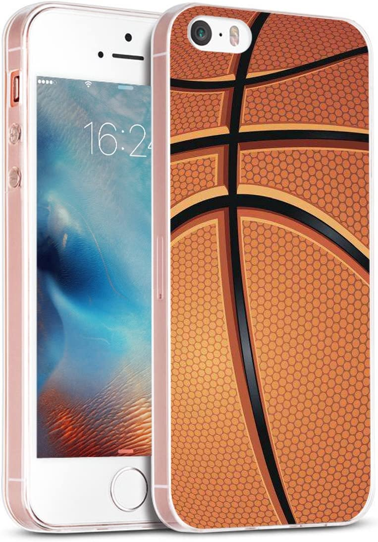 Case for Phone 5S Basketball & Cover for 5S & MUQR Replacement Skin Rubber Gel Silicone Slim Drop Proof Protection Protector Compatible with iPhone 5S/5/SE & Basketball Sport Design Pattern