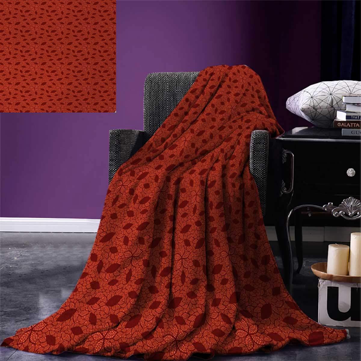 Amazon Burnt Orange Throw Blanket Leafage Pattern With