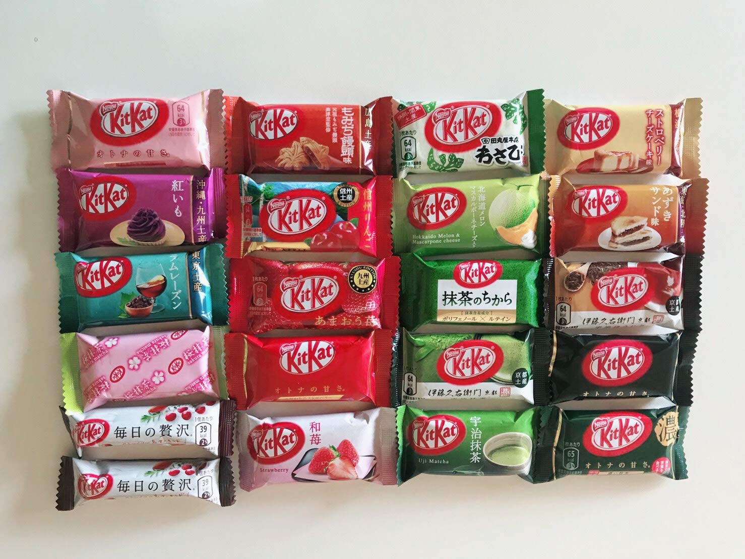 Japanese Kit Kat Mini Bar 21 pcs , ALL DIFFERENT FLAVORS Assortments (original green tea set)