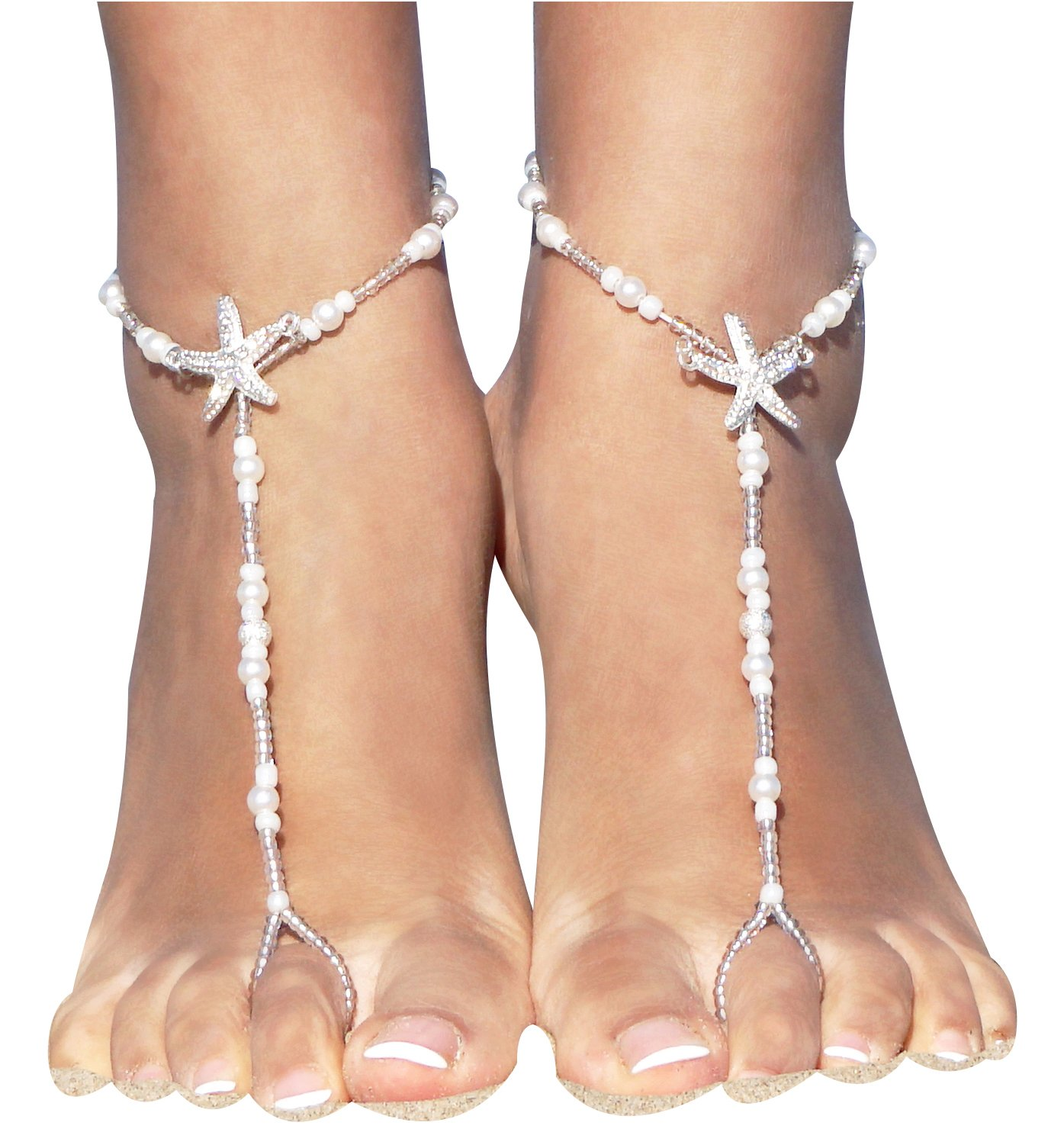 jewelry anklet beach fairybones pin sandals wedding on silver barefoot rhinestone foot by
