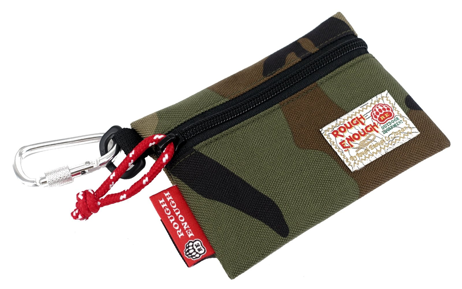 Rough Enough Durable 1000D Cordura Flat Card Pouch Wallet Change Cash Coin Bag Purse With YKK Zipper And Fasten Buckles Perfect Size To Hold Many Small Little Stuffs ,Accessories For Kids (Camo)