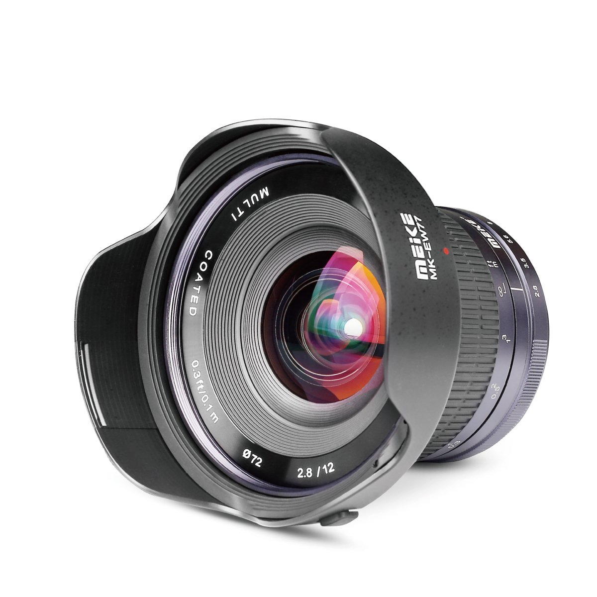 Meike 12mm f/2.8 Ultra Wide Angle Manual Fixed Lens with Removeable Hood for MFT Micro Four Thirds Panasonic/Olympus Mirrorless Camera by MEKE