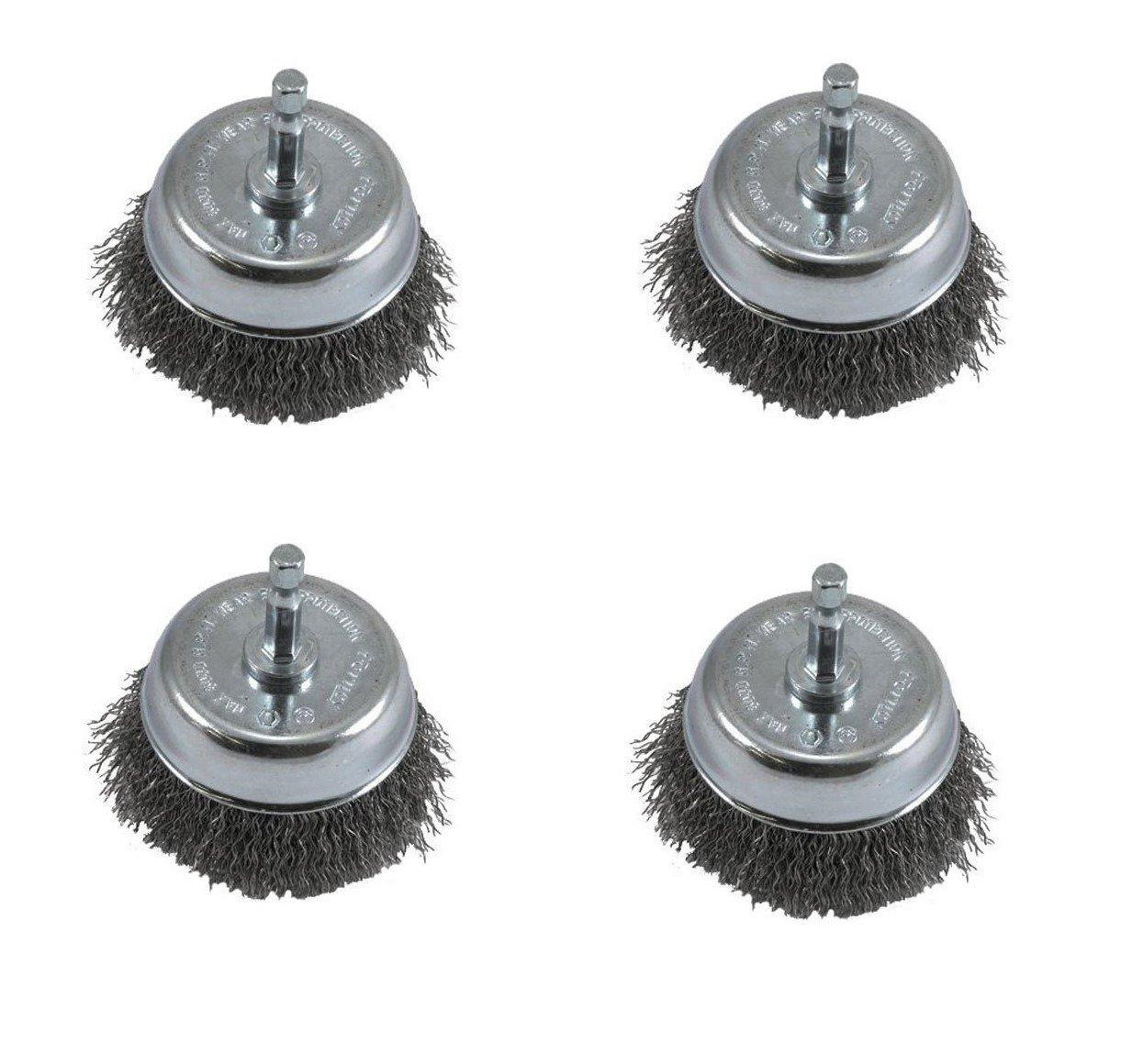 Forney 72731 Wire Cup Brush, Coarse Crimped with 1/4-Inch Hex Shank, 3-Inch-by-.012-Inch, 4 Pack