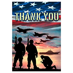 Custom Decor Thank You - USA Military Services - Garden Size Flag 12 Inch X 18 Inch Copyright and Trademark USA by Inc.