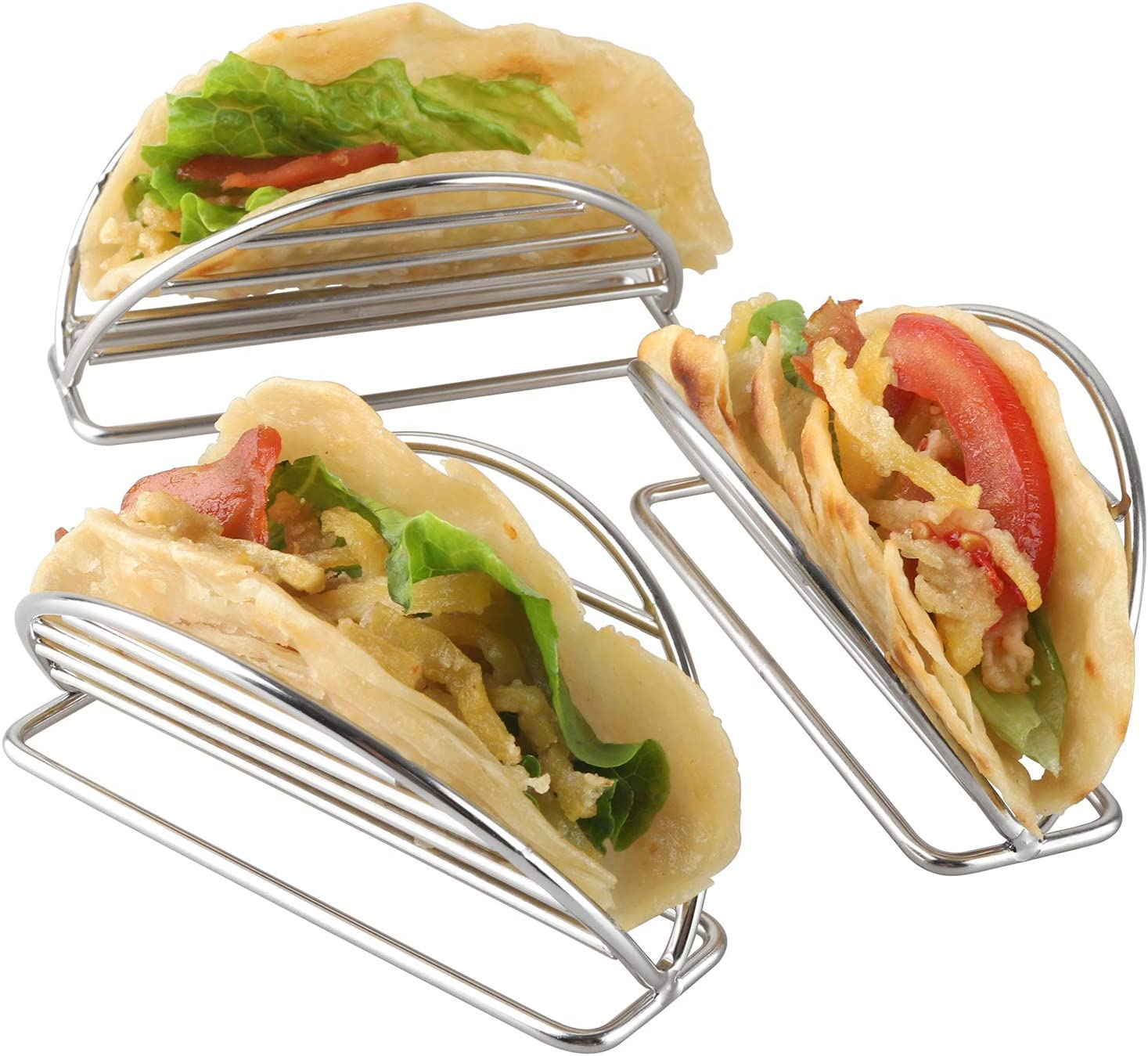 Stainless Steel Spanish Taco Shell Rack Holds Trays for Oven Baking Grill Milkary 2 PCS Taco Holders Stand with 10in Kitchen Clip Dishwasher Safe