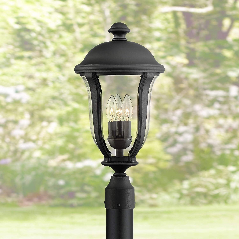 "Park Sienna Traditional Outdoor Light Post Fixture Black 20"" Clear Glass for Exterior Garden Yard Patio - John Timberland"