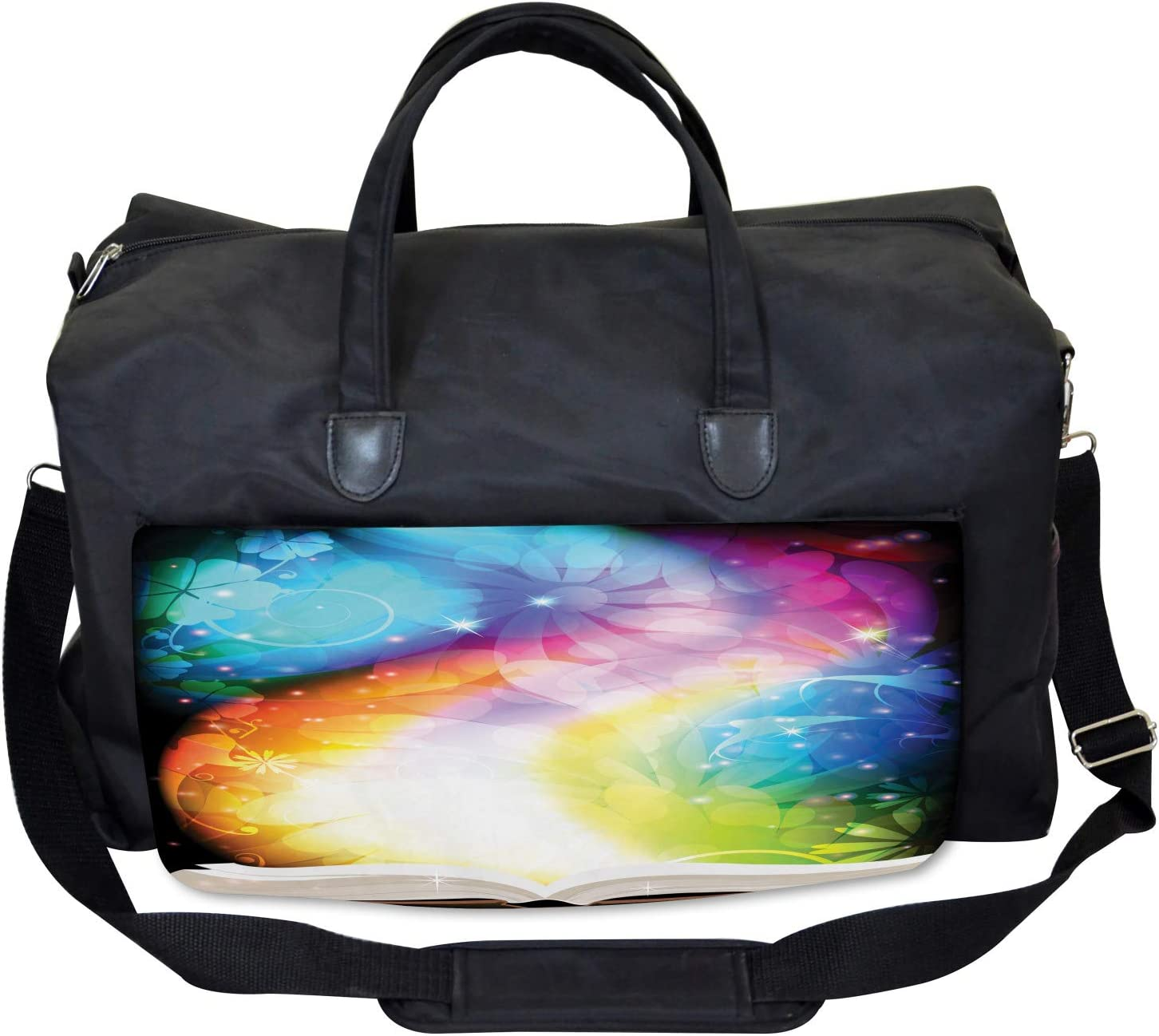 Fairy Tale Book Rainbow Large Weekender Carry-on Ambesonne Floral Gym Bag
