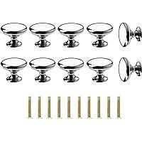 ShipeeKin 10x gepolijst verchroomde handgrepen, ladeknoppen, deurknoppen, meubelgrepen voor kast, kast, lade, slaapkamer…