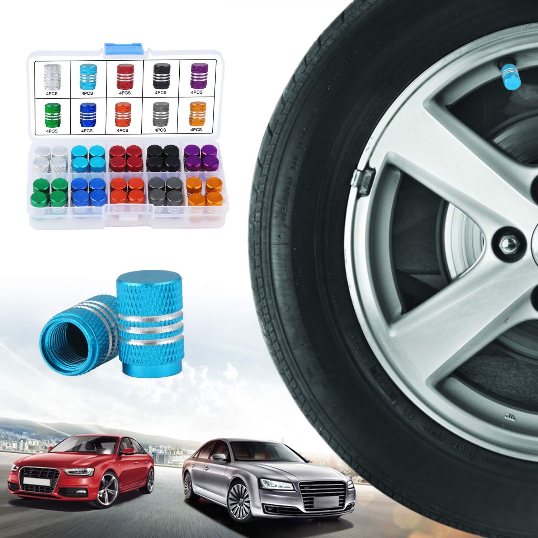 TsunNee Reifen Ventilkappen 40 St/ück Staubdicht Aluminium Auto Luftkappen Auto Reifen Ventilkappen Abdeckung 10 Farben