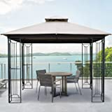 AsterOutdoor 10x10 Outdoor Gazebo for Patios Canopy for Shade and Rain with Corner Shelves, Soft Top Metal Frame for Lawn Bac