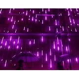 YSIM Meteor Shower Rain Lights,Ultra Bright Romantic Lights for Party, Wedding, Christmas, etc.11.8inch 8 Tubes(Purple)