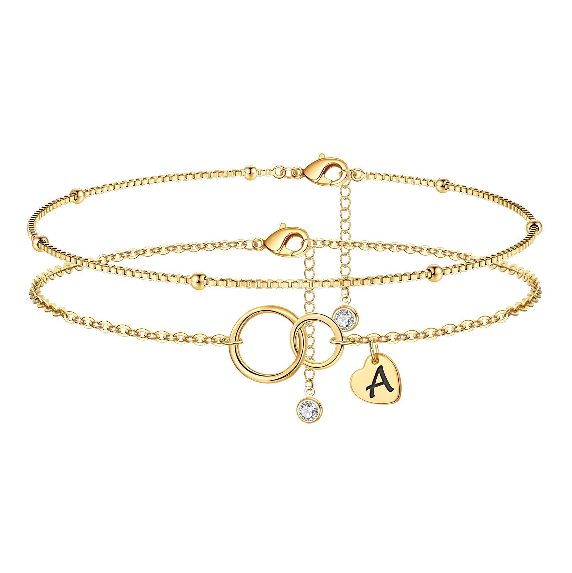 Infinity Circles Ankle Bracelets for Women 14K Gold Plated Handmade Dainty Box