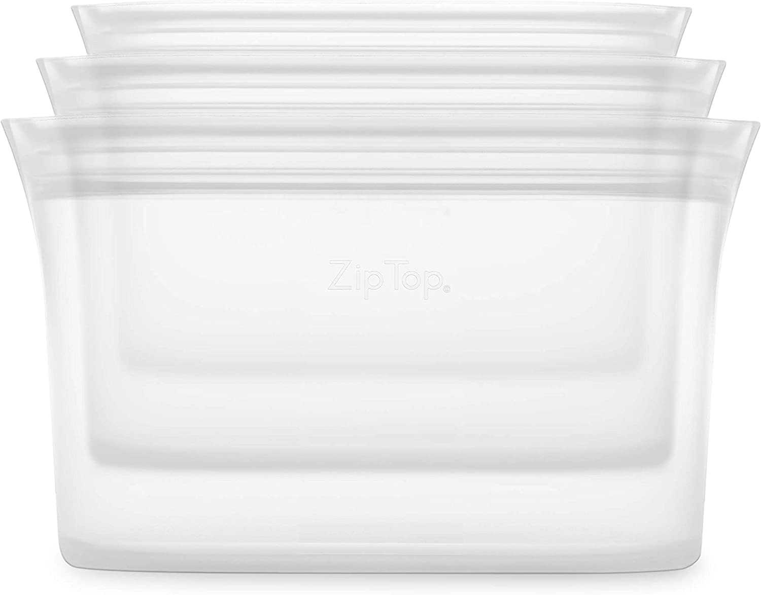 Zip Top Reusable 100% Platinum Silicone Containers - 3 Dish Set - Frost