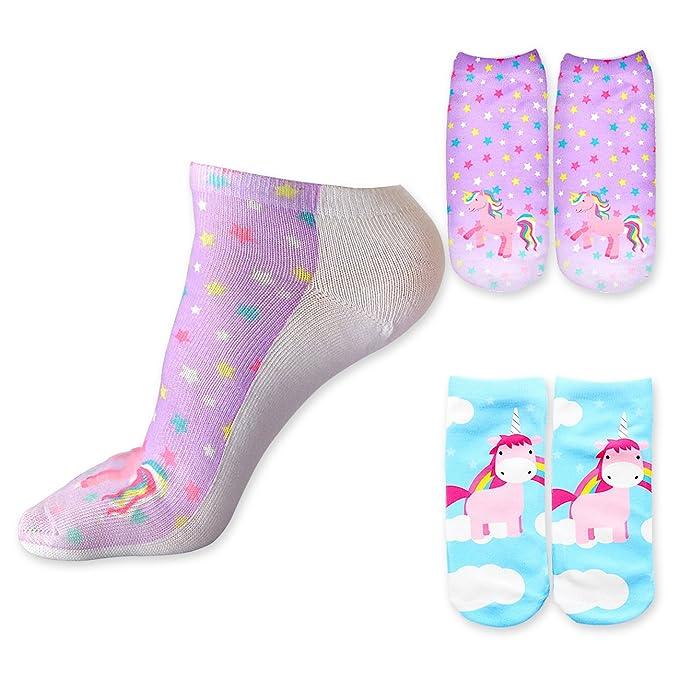 DRESHOW calcetines divertidos de dibujos animados de unicornio Rainbow 3D estampados Emoticonos Emoji calcetines sin presentación para niñas paquete de ...