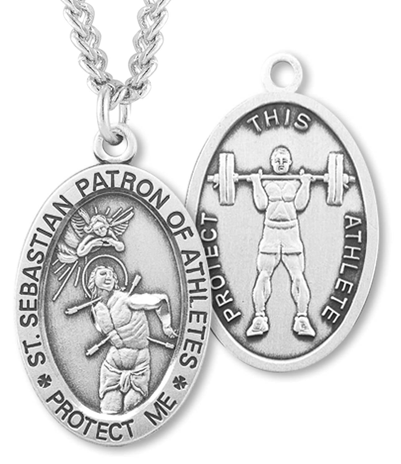 Heartland Men's Sterling Silver Oval Saint Sebastian Weight Lifting Necklace + USA Made + Chain Choice