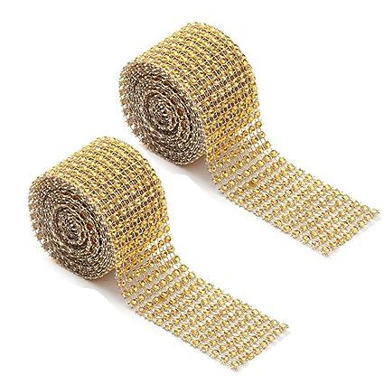 0e0fda3615 Amazon.com: TXIN 2 Rolls 8 Row Diamond Mesh Wrap Ribbon Rhinestone ...