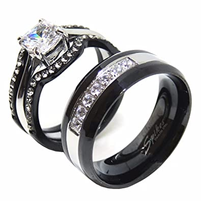 fa686434a2 Lanyjewelry His Hers Couples Ring Set Womens Black Stainless Steel Promise  Ring Mens 7 CZ Wedding