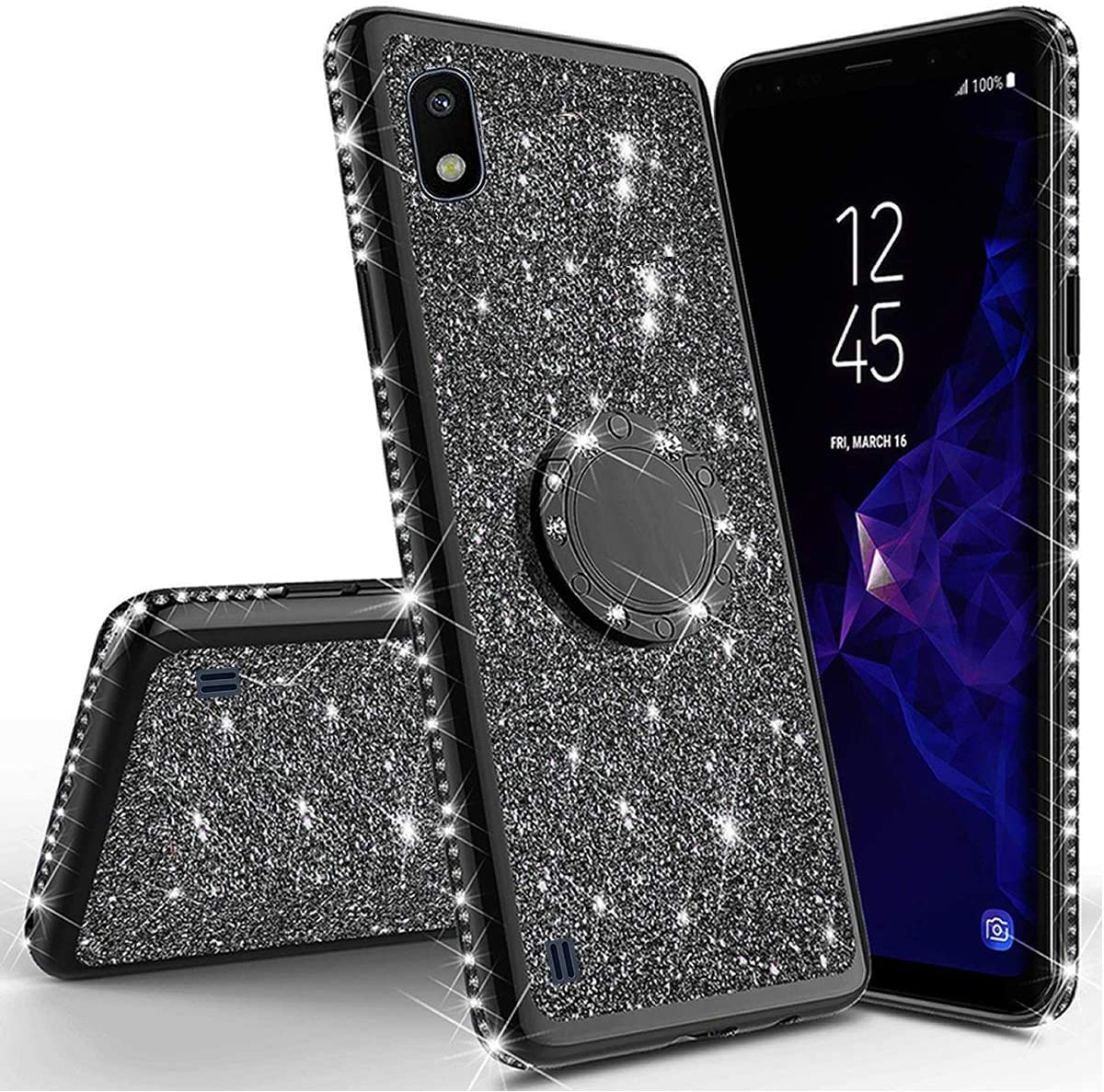 Miagon Bling Coque pour Samsung Galaxy A10,Brillant Paillette Strass 360 Degr/é Diamant Supporter Tr/ès Mince Souple Silicone Bumper Housse Etui de Protection Case Cover