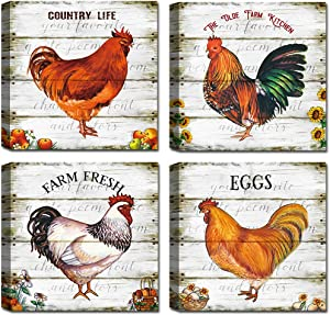 Rooster Wall Art,Rustic Hen Kitchen Decor,Chicken Print Pictures,Dining Living Room Farmhouse Bedroom Canvas,Set of 4,Wood Background Printed Paintings Artwork for Home Wall Decorations,Poster Gifts