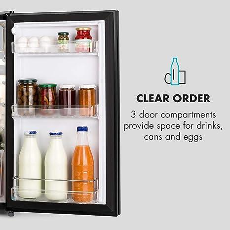 Klarstein Miro Frigorífico • Nevera con puerta rotulable • 91L • 7 niveles de temperatura • Clase A+ • Compartimento para verduras • Bisagra de puerta ...