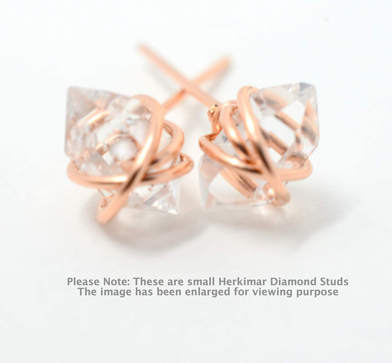 Handmade Wire wrapped Rose Quartz Stud Earrings 14K Gold Filled or Sterling Silver or 14K Rose Gold Filled Geometric earrings