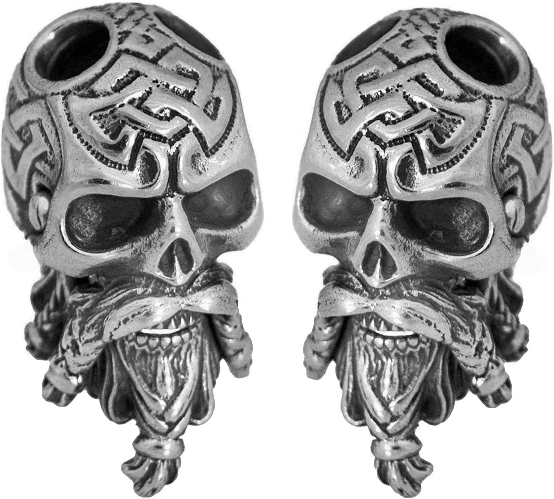 2 pcs Celtic Bearded Skull - Set of Metal Paracord Beads - Custom Knife Lanyard Bead Handmade Paracord Accessories Charms