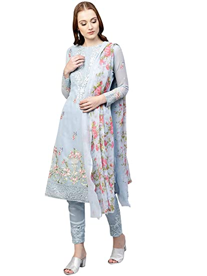 17121baed7 AKHILAM Women's Georgette Embroidered Unstitched Salwar Suits Dress  Material Set (Sky Blue_Free Size): Amazon.in: Clothing & Accessories