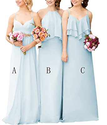 c928bc2f24e8 Yilisclothing Women's Off Shoulder Straps A Line Prom Dress Boho Chiffon  Bridesmaid Dresses Sleeveless Ice Blue