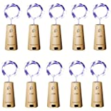 Aluan Wine Bottle Lights 10 Pack 12LED Cork Bottle Lights with Screwdriver Battery Operated Wine Cork Lights String…
