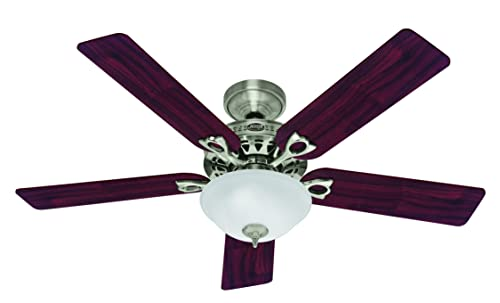 Hunter Indoor Ceiling Fan with light and pull chain control – Astoria 52 inch, Brushed Nickel, 53058