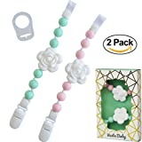 Amazon Price History for:Set of 2 Universal Baby Pacifier Clips with Silicone Teething Beads for Girls, MAM Pacifier Clip Adapter, Soothie Pacifier Holder & Baby Teether Holder, Binky Clips are Best Baby Girl Gifts