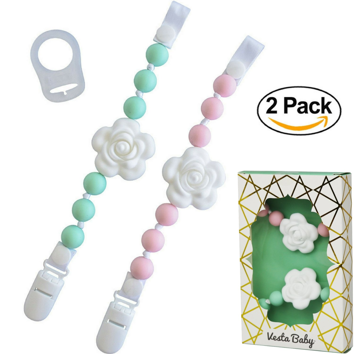Set of 2 Universal Baby Pacifier Clips with Silicone Teething Beads for Girls, MAM Pacifier Clip Adapter, Soothie Pacifier Holder & Baby Teether Holder, Binky Clips are Best Baby Girl Gifts by Vesta Baby (Image #1)