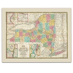 New York State Vintage Map Circa 1832-11 x 14 Unframed Print - Great Housewarming Gift. New York Themed Office Decor.